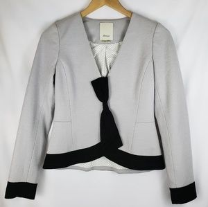 Elevenses Black and Grey Wool Blend Bow Blazer S 2